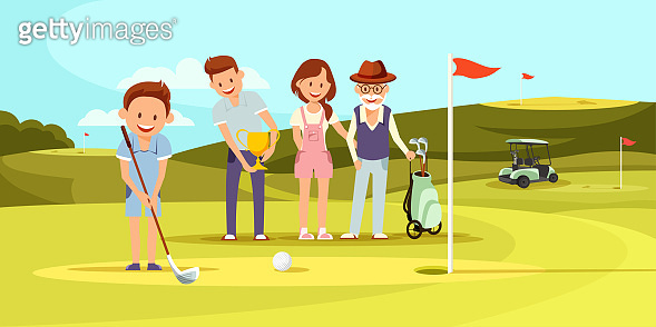 Happy Family on Golf Course Playing Golf. Leisure.