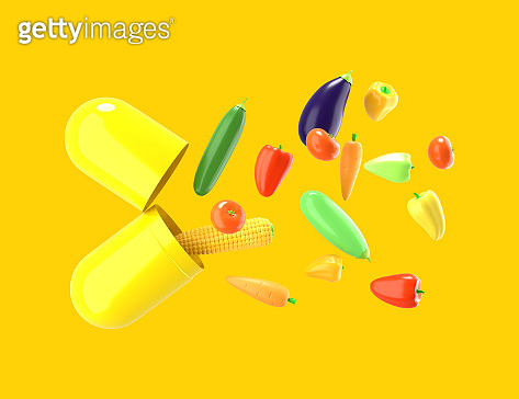 Fresh vegetables fly out of the pill. Conceptual illustration of nutritional supplements with empty space for text. 3D rendering.