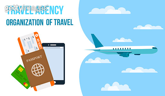 Airlines, Travel Agency Horizontal Vector Banner