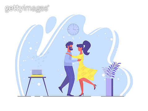 Bright Poster Loving Couple Dance Cartoon Flat.
