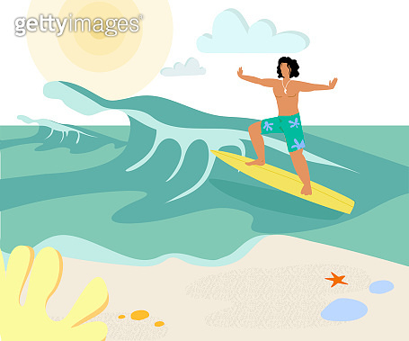 Tanned Surfer on Surf Board Flat Vector Character