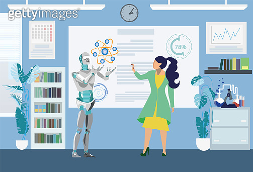 Robot Helping in Scientific Test Flat Illustration