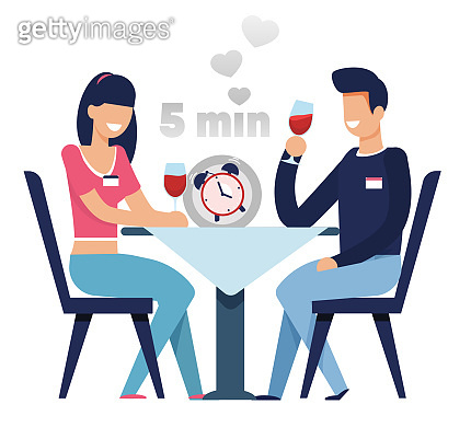 Man and Woman on Fast Dating in 5 Minutes Cartoon