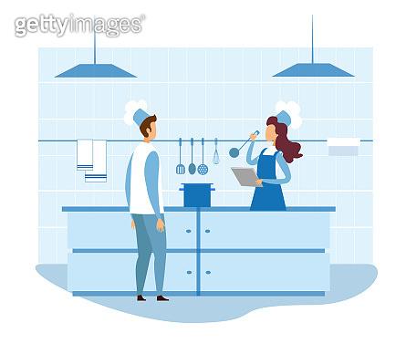 Female Food Critic Checking Restaurant Kitchen