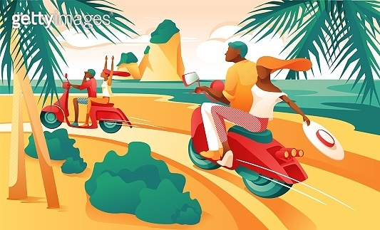 Cartoon Couple Ride Motorcycle on Ocean Shore