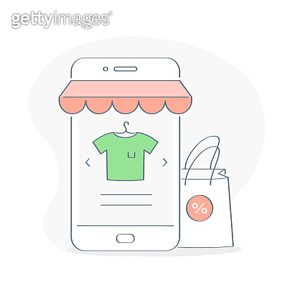 Online Shopping, buy online via Mobile Phone concept