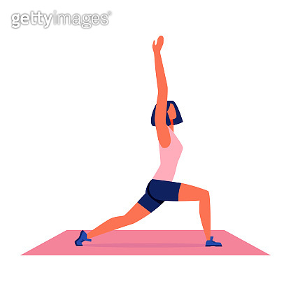 Woman Doing Yoga on Carpet on White Background.