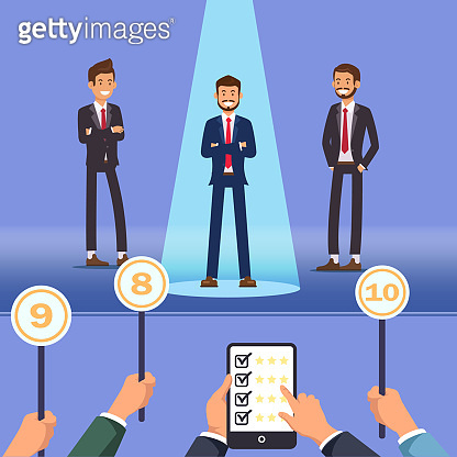 Choosing Best Employee. Men Stand on Stage. Vector