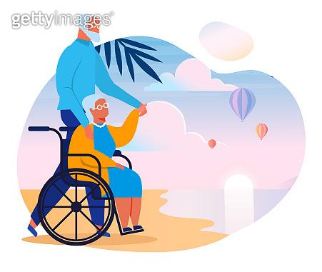 Seniors Couple on Sea Shore Vector Illustration