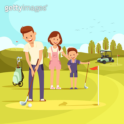 Illustration of Happy Family on Golf Course Playing Golf.