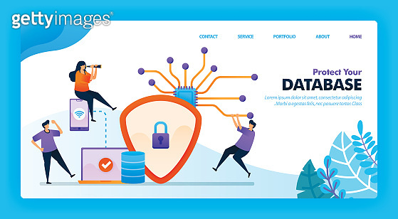 Landing page vector design of Protect your database. Easy to edit and customize. Modern flat design concept of web page, website, homepage, mobile apps UI. character cartoon Illustration flat style.