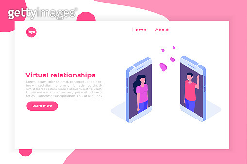 Virtual relationships, online dating, social networking concept. Vector isometric illustration.