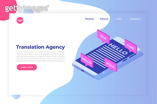 Online Translation agency isometric concept. Interpretation services. Vector illustration