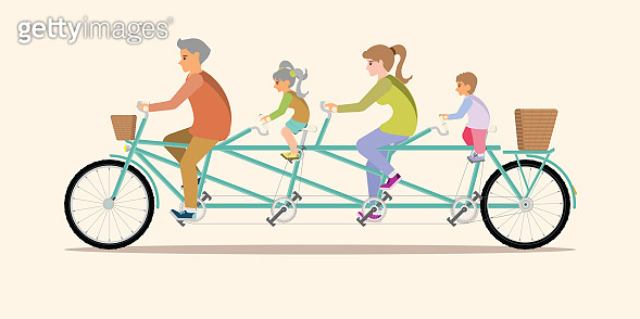 Happy family cycling tandem bicycle isolated on background.