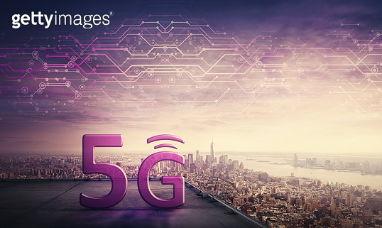 wifi5G high speed network connection, icon hologram on the rooftop of a skyscraper over city horizon. New generation global network symbol, excellent signal coverage concept. Safe internet marketing.