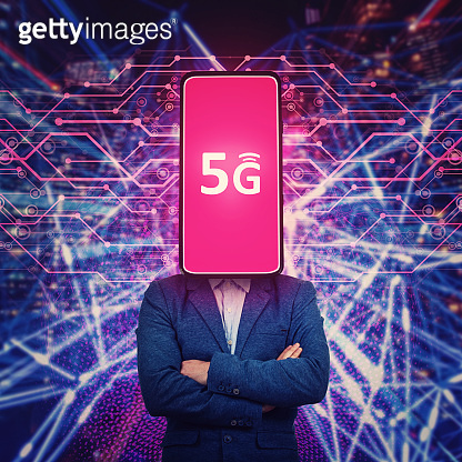 Anonymous phone headed man presenting new 5G smartphone generation. High speed internet connection, future technology. Facial recognition, AI influence, cybersecurity and network safety concept.