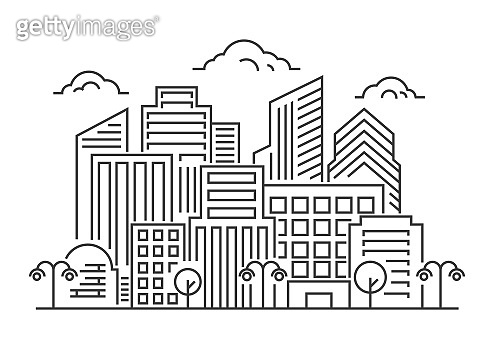 Vector thin line city landscape. Modern city landscape with skyscrapers