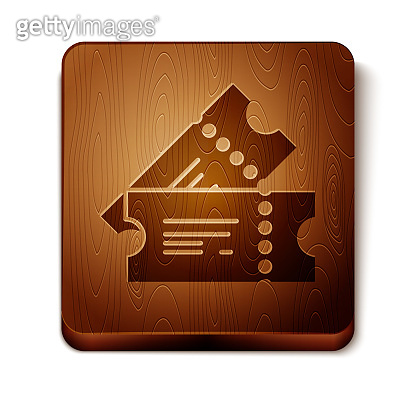Brown Cinema ticket icon isolated on white background. Wooden square button. Vector Illustration