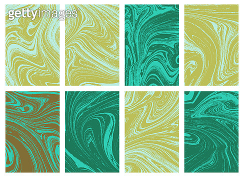 Set of liquid marble texture in color. Swirls and ripples of stone. Fluid art Ebru  template for design element for covers, fashion posters, business cards, presentation, invitation, makeup, flyers and print. Vector.