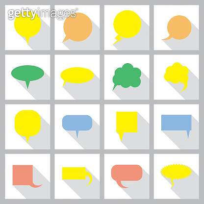 Set of comic speech bubbles. Speech bubble for design elements. Colorful flat style icons with shadows collection. Vector Illustration