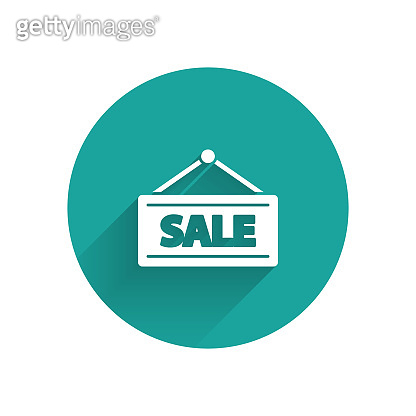 White Hanging sign with text Sale icon isolated with long shadow. Signboard with text Sale. Green circle button. Vector Illustration