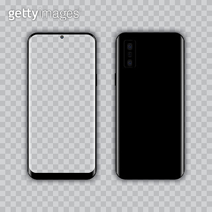 Realistic smart phone with transparent screen. Vector