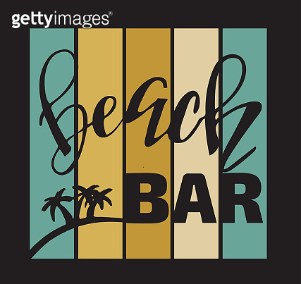 Beach Party Bar Lettering Label Banner