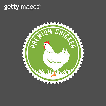 Premium chicken logo. Labels, badges and design elements. Organic style. Green eco chicken stickers. Vector Illustration.