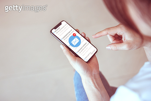 Woman recieve inbox view the pending e-mail communication, New messages on mobile smartphone.