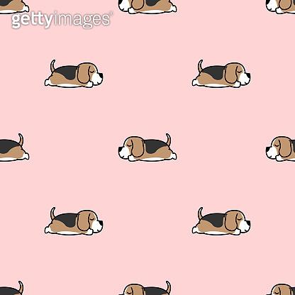 Lazy beagle puppy sleeping seamless pattern, vector illustration