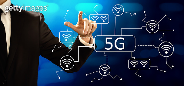 5G network with businessman