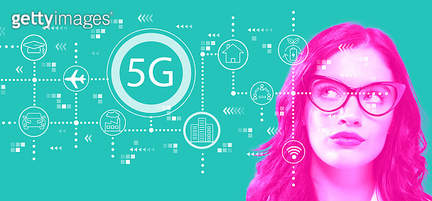 5G network with young businesswoman