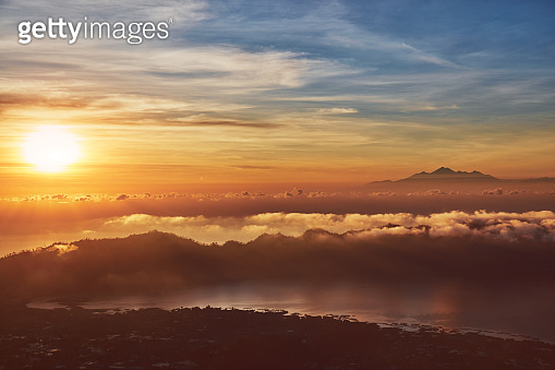 View from Mount Batur in Bali, Indonesia.