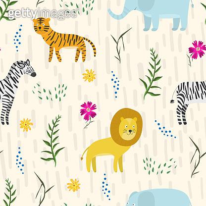 Childish pattern with cute cartoon jungle animals