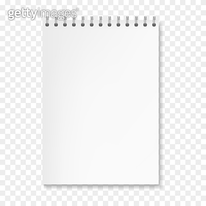 Realistic vector vertical white notebook on spiral