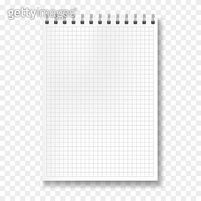 Realistic vector math ruled notebook mockup