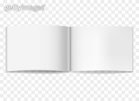 Opened white horizontal brochure mockup