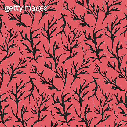 Contrast red drawn ink branches pattern
