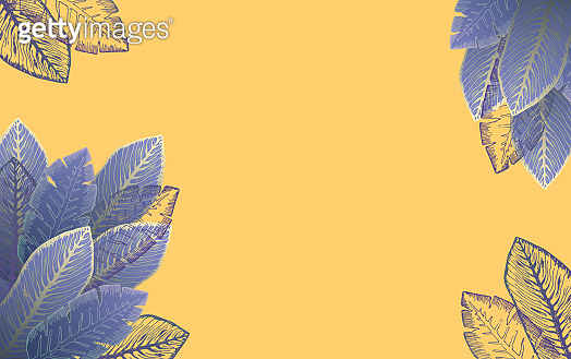 Orange background with purple tropical leaves