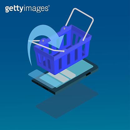 smart phone with Shopping basket on white background , Isometric
