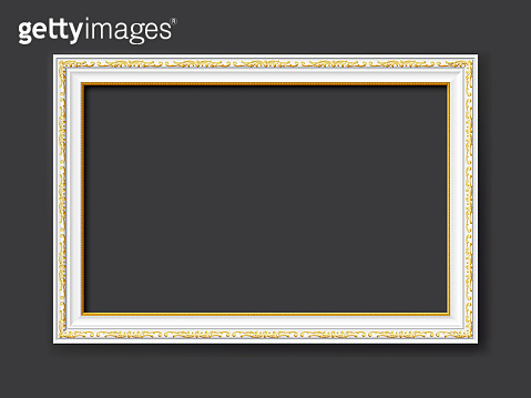 white ornamental vintage style vector picture frames on dark gray background