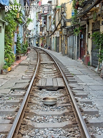 Perspective view on Train Street in Hanoi
