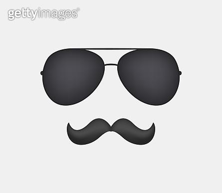 Sunglasses and mustache vector clipart .