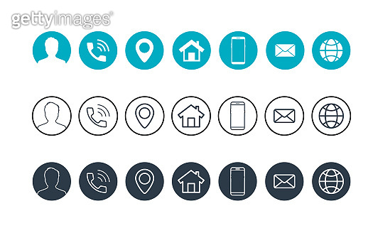 Business card contact information icons. Contact information icons. Vector minimal symbols