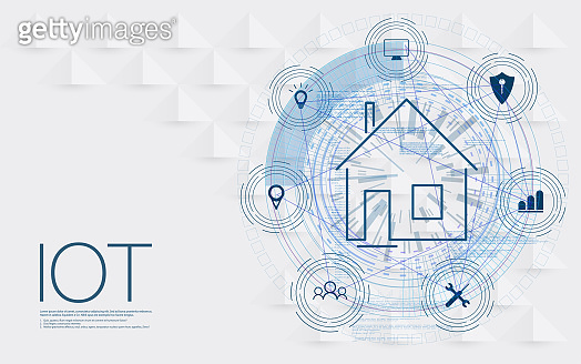 Internet of things (IOT), devices and connectivity concepts on a network, cloud at center.