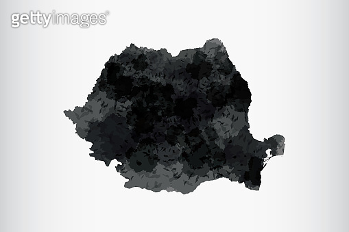 Romania watercolor map vector illustration of black color on light background using paint brush in paper page