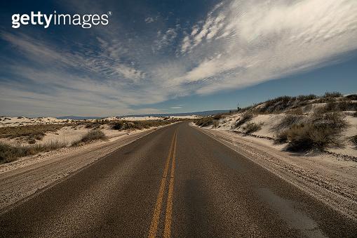 Lost road in big bend national park desert