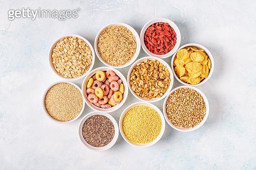 Ingredients for healthy breakfast - cereals, grains, seeds