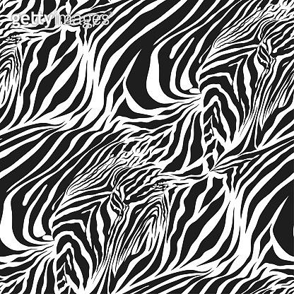 Seamless vector black and white zebra fur pattern. Stylish fashionable wild zebra print. Animal print background for fabric, textile, design, advertising banner.