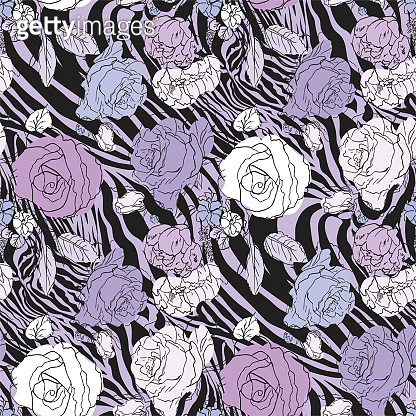 Seamless vector violet floral pattern. Flowers field on zebra print. Trendy animal motif with roses wallpaper. Fashionable background for fabric, textile, design, banner, cover.